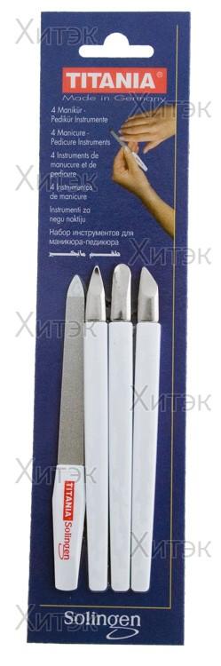 TITANIA Маникюрный набор, 4 предмета с пушером